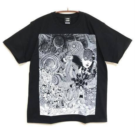 うずまきコラージュTシャツ-BLACK-