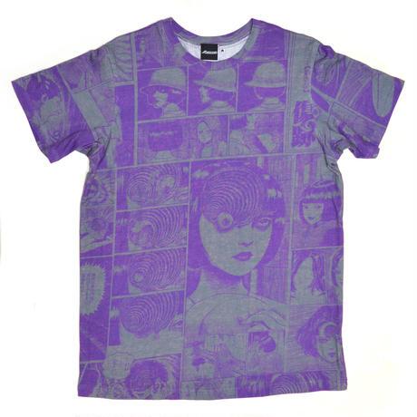 あざみ総柄Tシャツ-PURPLE×GRAY