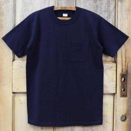 リサイクルコットン吊天竺ポケットTシャツ - ネイビー