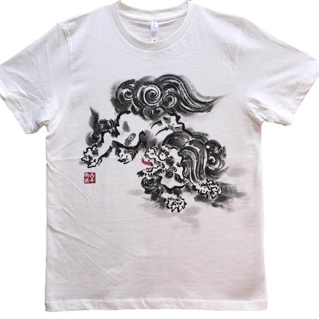 T-shirts men Jumping Lion white Japanese sumi-e Art