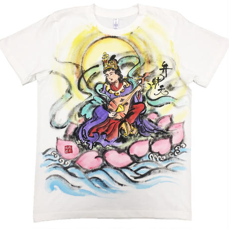 T-shirts Benzai-ten Japanese Sumi-e Art color handmade