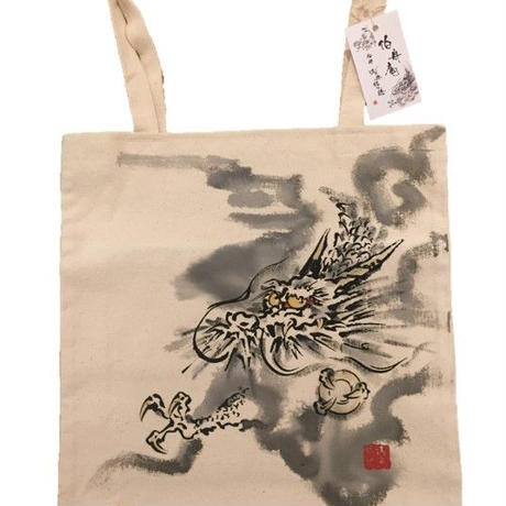 Tote bag Dragon sumi-e art white
