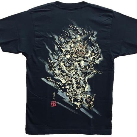 T-shirts men Daiitoku Myo-O black Buddhist Japanese sumi-e Art