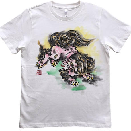 T-shirts men Jumping Lion  color Japanese sumi-e Art