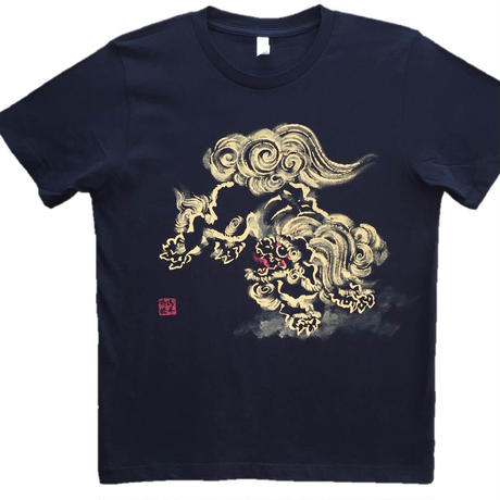T-shirts men Jumping Lion  black Japanese sumi-e Art