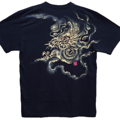 T-shirts men Dragon part1 black Japanese sumi-e Art