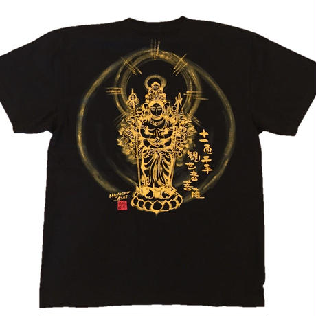 T-shirts men Juichimen Senju Kannon black Buddhist Japanese sumi-e Art