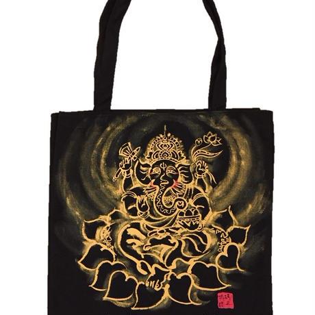 Tote bag Ganesha sumi-e art black