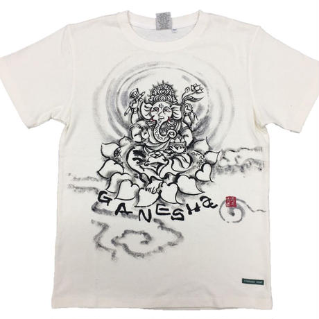 Hemp T-shirts Ganesha FRONT Japanese sumi-e art Handmade