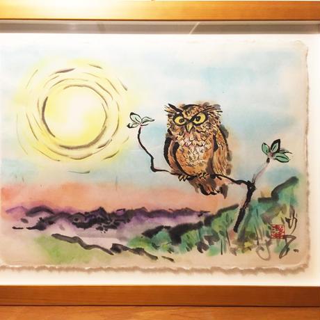 Owl and Sunrise original picture of sumi-e art