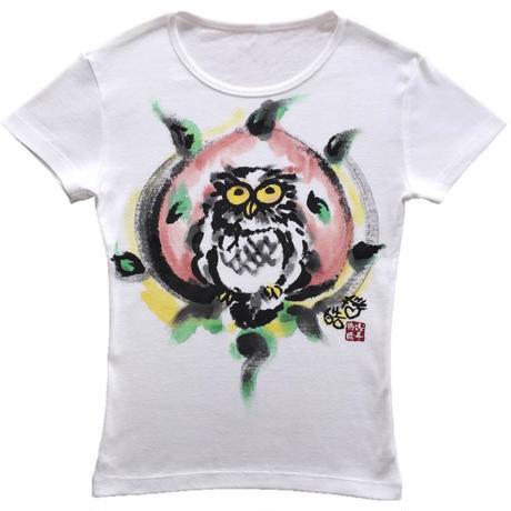 T-shirts ladies Happy Owl color Japanese Art