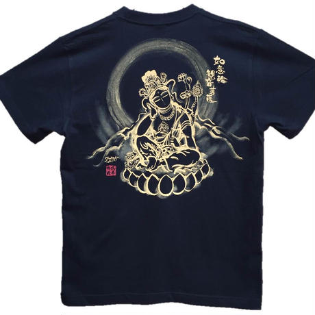 T-shirts men Nyoirin Kannon black Buddhist Japanese sumi-e Art