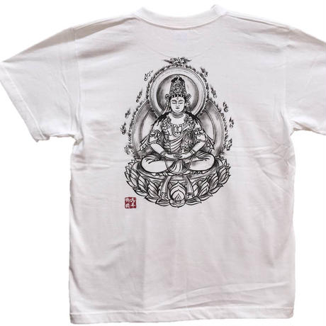T-shirts men Dainichi-Buddha white Buddhist Japanese sumi-e Art