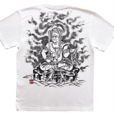 T-shirts men Fudo Myo-O white Buddhist Japanese sumi-e Art