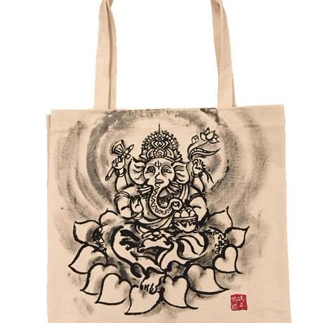 Tote bag Ganesha sumi-e art white