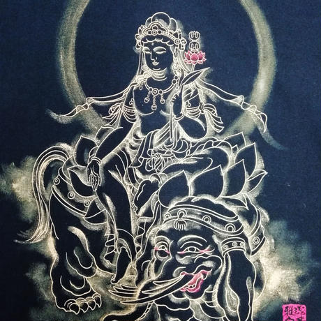 T-shirts men Fugen bosatsu black Buddhist Japanese sumi-e Art