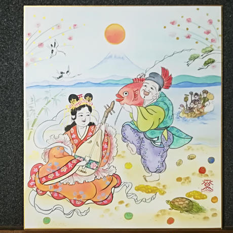 Benzaiten and Ebisu hanging scroll shikishi paper