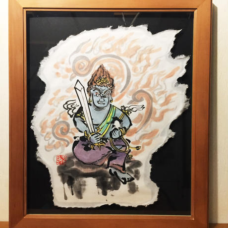 Fudo Myo-O in the fire picture of sumi-e art