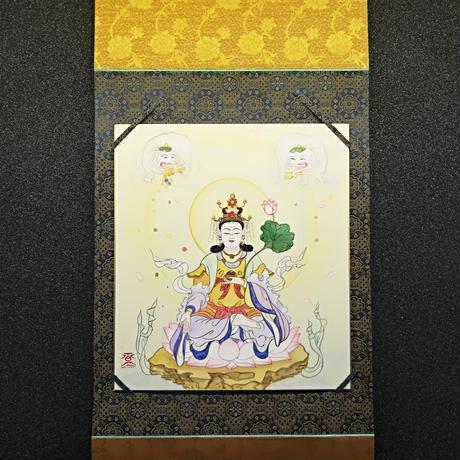 kissho-ten (Laksmi) hanging scroll shikishi paper