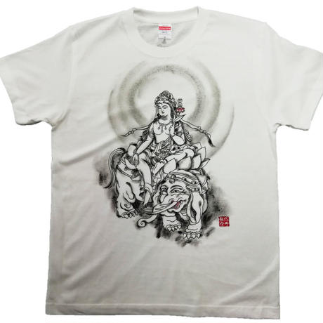 T-shirts men Fugen bosatsu white Buddhist Japanese sumi-e Art