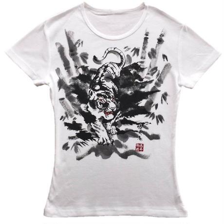 T-shirts ladies Tiger white Japanese Art