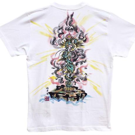 T-shirts men Kurikara Fudo color Buddhist Japanese sumi-e Art