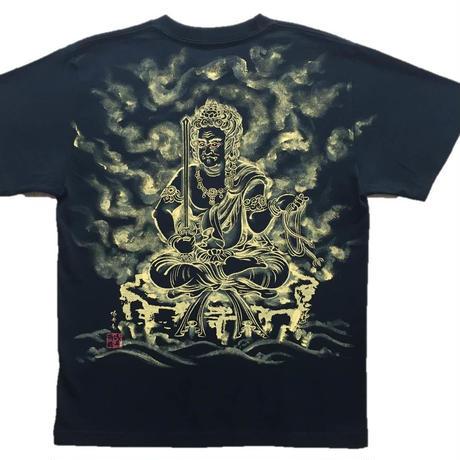 T-shirts men Fudo Myo-O black Buddhist Japanese sumi-e Art