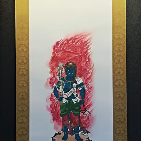 Fudo Myo-O Blue hanging scroll