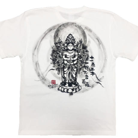 T-shirts men Juichimen Senju Kannon white Buddhist Japanese sumi-e Art