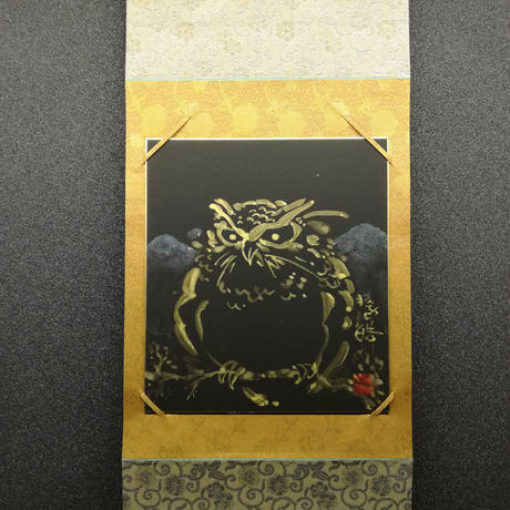 Golden Owl hanging scroll shikishi paper