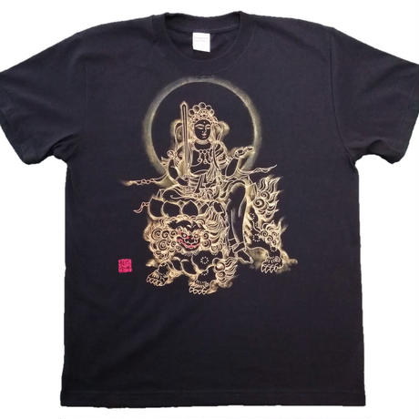 T-shirts men Monju bosatsu black Buddhist Japanese sumi-e Art
