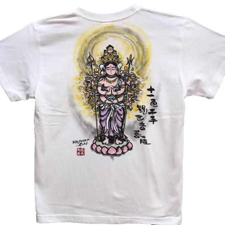 T-shirts men Juichimen Senju Kannon  color Buddhist Japanese sumi-e Art