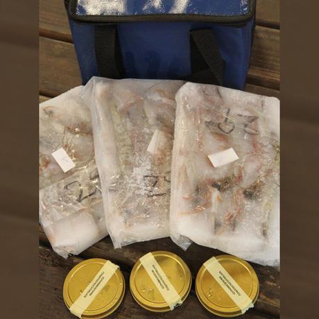 こだわりキャビア・海老セット (容量:キャビア10g×3、海老200g×3)[坪倉水産] 市場受取