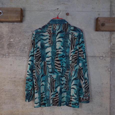 Vintage Animal Patterned Sheer Shirt