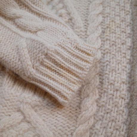Aran Cable Stitch Wool Knit  Cardigan