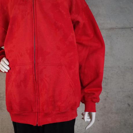"""""""HAM"""" Original Bleach Out Zip-up Hoodie #Red[在庫が無くなり次第終了]"""