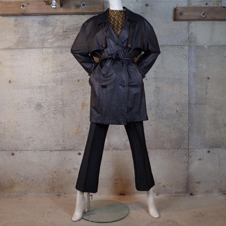 Designed Leather Trench Coat