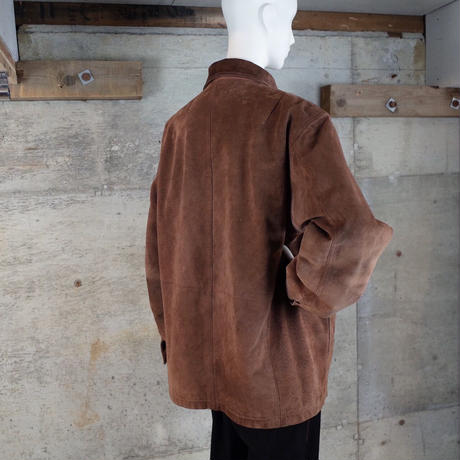 Vintage Suede Leather Half Coat