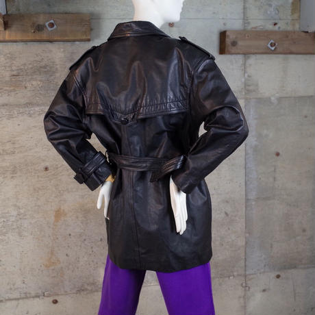 Vintage Leather Trench Coat