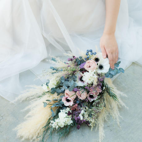 bouquet set * anemone + pampas grass *