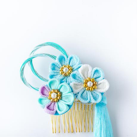 HA-0534 成人式 卒業式 お花 髪飾り 和風オリジナル髪飾り 水色 つまみ細工 水引 フリンジ 日本製