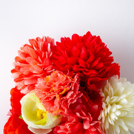 HA-0275 成人式 卒業式 お花 髪飾り 和風オリジナル髪飾り 赤 ベージュ グラデーション フリンジ 日本製