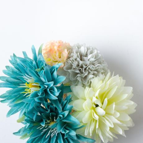 HA-0452 成人式 卒業式 お花 髪飾り 和風オリジナル髪飾り 水色 白 モダン ダブルデザイン 水引細工 帯飾り 日本製