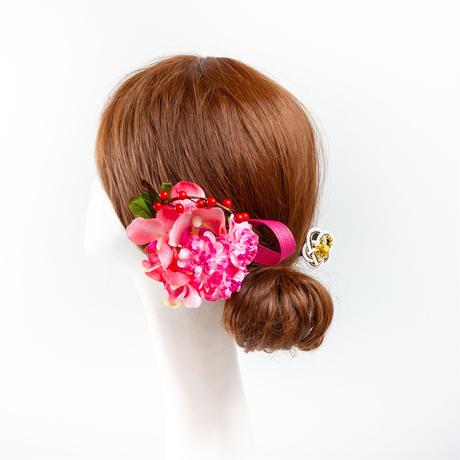 HA-0405 成人式 卒業式 お花 髪飾り 和風オリジナル髪飾り ピンク 胡蝶蘭 水引細工かんざし 南天の実 日本製