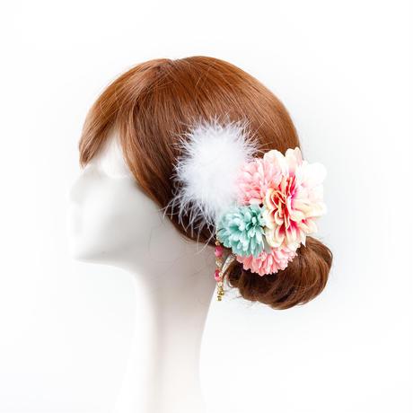 HA-0316 成人式 卒業式 お花 髪飾り 和風オリジナル髪飾り ピンク 水色 ダブルデザイン ファー チェーンビーズ 日本製