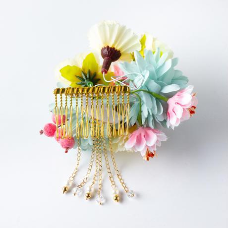 HA-0260 成人式 卒業式 お花 髪飾り 和風オリジナル髪飾り 水色 ベージュ ピンクの実 垂れ飾り パール 日本製
