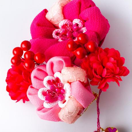HA-0491 成人式 卒業式 お花 髪飾り 和風オリジナル髪飾り ピンク まんじゅうつまみ細工 フリンジ 日本製