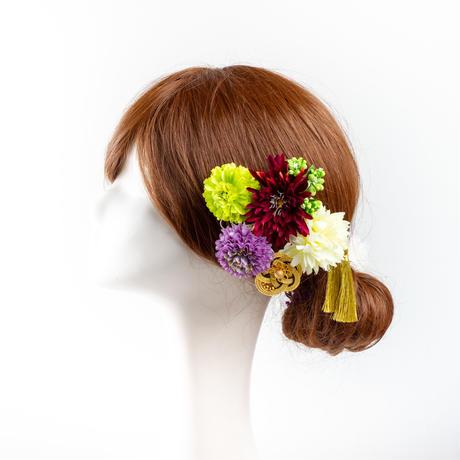 HA-0391 成人式 卒業式 お花 髪飾り 和風オリジナル髪飾り 緑 紫 ワインレッド フリンジ 水引細工 花指輪 日本製
