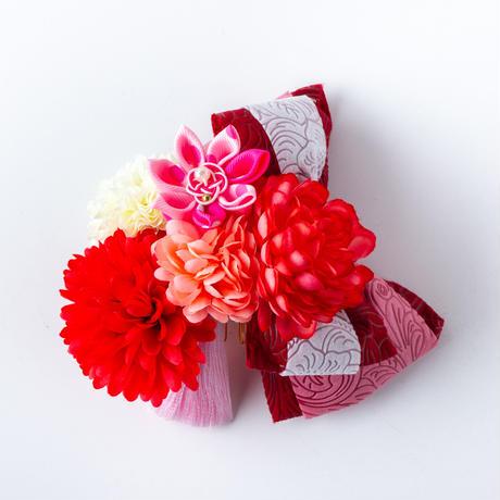 HA-0510 成人式 卒業式 お花 髪飾り 和風オリジナル髪飾り エンジ 赤 ピンク 型押し リボン 日本製