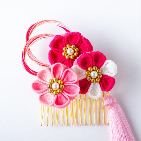 HA-0535 成人式 卒業式 お花 髪飾り 和風オリジナル髪飾り 赤 ピンク つまみ細工 水引 フリンジ 日本製